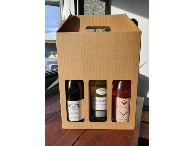 **NEW** 3 Bottle Wine BOX (Uncoated) Kraft Brown Carry Pack