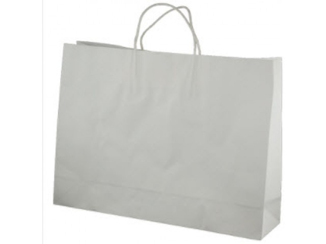 Twist Handle Paper Bag WHITE (Large Landscape) Carton/250