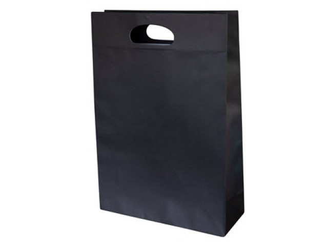 Large Black Paper Bag with gusset and die cut handle