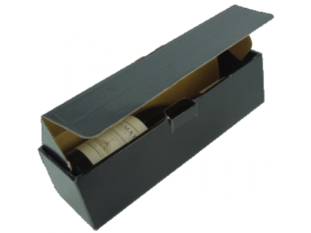 Single Bottle Wine Box (UV Gloss) Hinged Lid Black