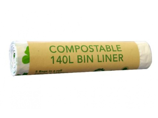 Compostable 140L Bin Liner Roll/5