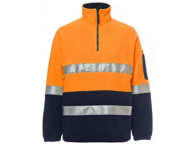 Hi Vis Polar Fleece (1/2 Zip) Day & Night ORANGE/NAVY