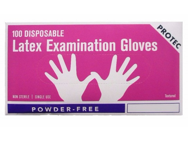 Disposable Latex 'Powder Free' Gloves (Protec) LARGE