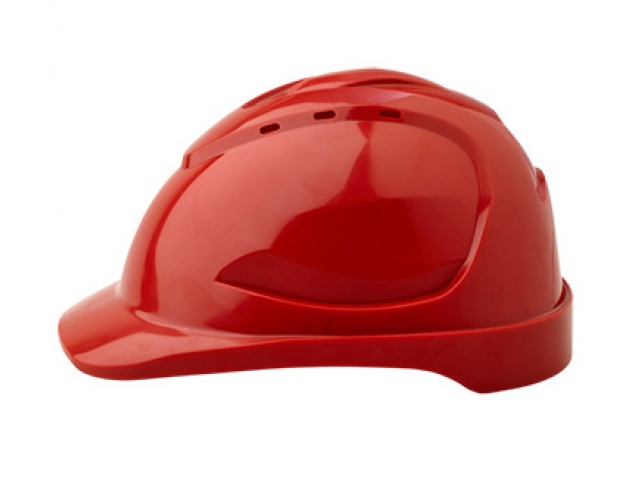 V9R Vented Hard Hat with Ratchet Harness RED