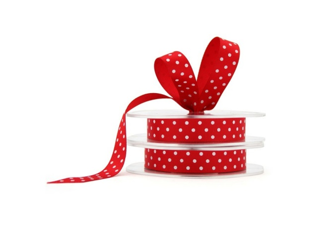 Grosgrain Ribbon Red/White Dots