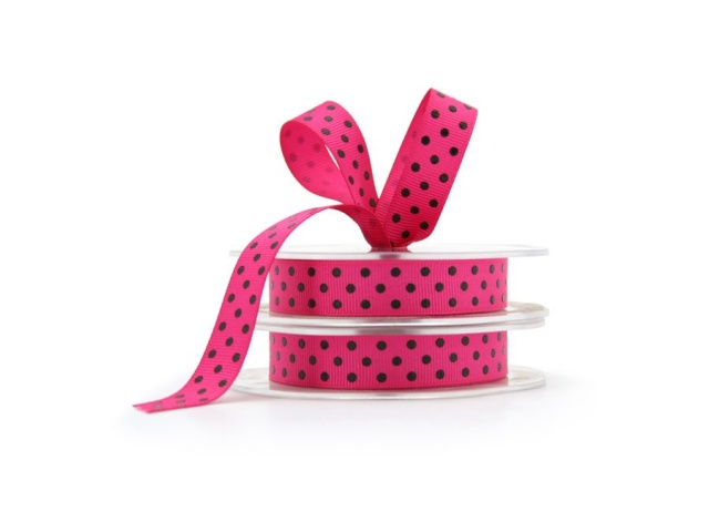 Grosgrain Ribbon Pink/Black Dots