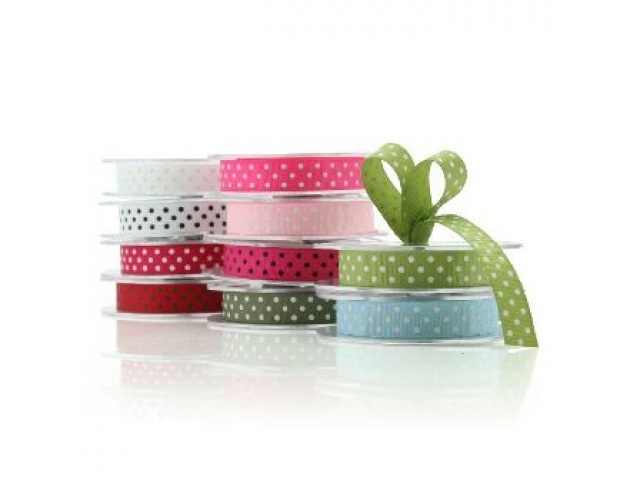 Grosgrain Ribbon Light Blue/White Dots