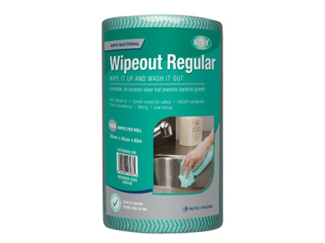 Wipeout Regular Wipes Perforated Roll/144 GREEN