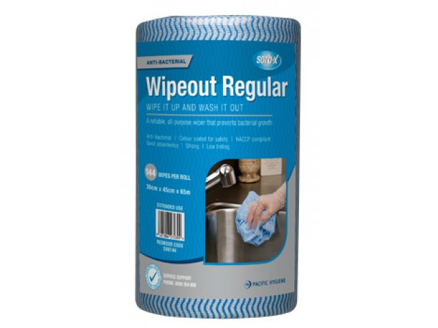 Wipeout Regular Wipes Perforated Roll/144 BLUE